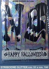 HAPPY HALLOWEEN STRISCIONE ARGENTO 180 x 31 cm. HORROR DJ PARTY EFFETTO LASER