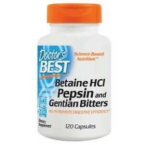 Doctor's Best Betaine HCl Pepsin & Gentian Bitters Digestive System - 120 caps