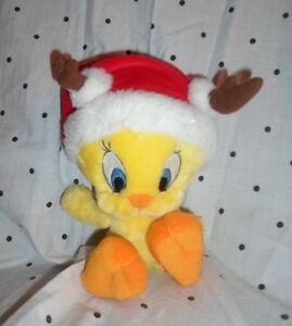 "Tweety Bird Santa Reindeer Hallmark 10""  Plush Soft Toy Stuffed Animal"