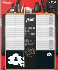 Ziploc Makeup and Accessory Bags, 15-pack  Brand New  SHIPS WITH NO PACKAGING
