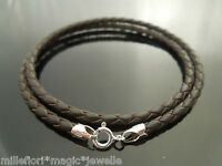 """3mm Brown Braided Leather & Sterling Silver 18"""" Necklace Or 9"""" Double Bracelet"""