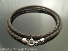 "3mm Brown Braided Leather & Sterling Silver 18"" Necklace Or 9"" Double Bracelet"