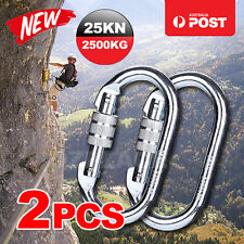 2x Mountaineering Climbing Carabiner Steel Screw Lock Hook 25kn or 2500kg Silver