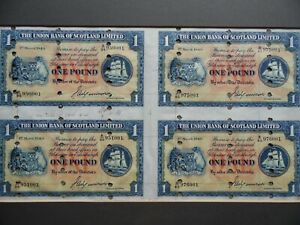 4 x Union Bank of Scotland 1949 One Pound Banknotes Printers Proofs. Stamped
