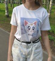 Cute T-Shirt For Girl Women Sailor Moon Cat Printed Harajuku Japanese Tee Shirt