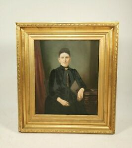 Antique Portrait Of A Woman In Black - Attributed to Washington Bogart Cooper