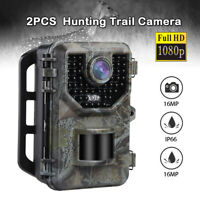 2 Pack 16MP Hunting Camera IP66 No glow LEDs 120°Degree Farm Animal Trail Camera