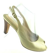 Cole Haan Nike Air Gold Leather Open Toe Slingback Pumps Womens Shoe SIZE 8.5 B