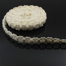 100% Cotton Beige Crochet Lace Trims Sewing Ribbon Trimmings 5 Meters 20''