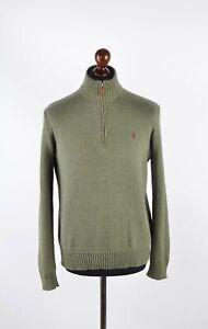 """Men's Ralph Lauren Polo Zip Neck Khaki Knited Cotton Jumper Sz S P-P 22.5"""""""
