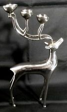 "Silver Plated Reindeer Candelabra Candle Holder Christmas 12""x7"" Votive Tealight"