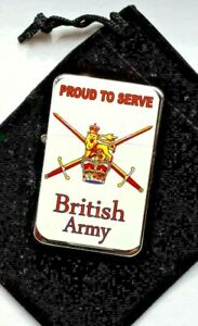 BRITISH ARMY Proud to Serve.  Chrome   Petrol Lighter in  black velvet pouch ..