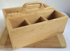 "Large Vintage Hand Made Tool Box Wooden 6 Compartment 17 x 13 x 6"" Wood Toolbox"