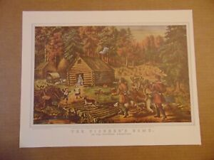 Vintage Currier & Ives Lithograph Reprint THE PIONEER'S HOME