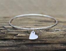 Silver Heart Charm Bangle - Sterling Silver Solid Flat Hammered Bracelet Bespoke