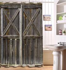 "Rustic Wood Barn Door Bath Tub Fabric Shower Curtain Set Waterproof Hooks 72X72"""