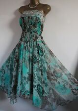 ᴥᴥBNWT MONSOON ORIGINALS SZ 12 FIGI GREEN BROWN DRESS PARTY SILK FLORAL BEAD 10ᴥ