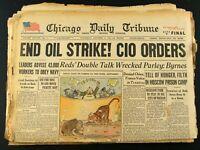 Oct 6,1945 World War II Newspaper Headline End Oil Strike! CIO Orders Chicago