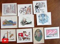 Art Deco pochoir prints c.1921-25 lot x 10 hand color smoking reading
