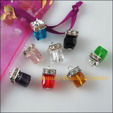 8 New Charms Glass Crystal Mixed Square Tibetan Silver Pendants 8x14.5mm