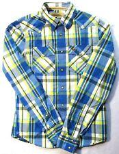 Hollister Mens Cowboy Western Shirt Blue Yellow Plaid Pearl Snaps Cotton Medium