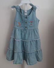 OSHKOSH Girl's Everyday 100% Cotton Light Blue Denim Sundress/Jumper sz 4 NWT