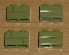 Lego 4 Steine 1 x 2 beidseitiges Muster in olive grün