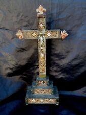 Crucifix croix reliquaire paperolles fleurs de lys epoque 18ème