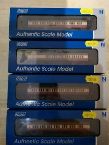 Dapol N Gauge Maunsell coaches - set of 4 in Crimson & Cream livery - New.