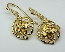 E024- Genuine SOLID 9ct 9K Yellow Gold NATURAL Citrine & Pearl DROP Earrings