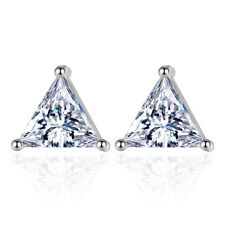 Real 925 Silver Triangle AAAA Zircon Ear Stud Earrings Women Fashion Jewelry