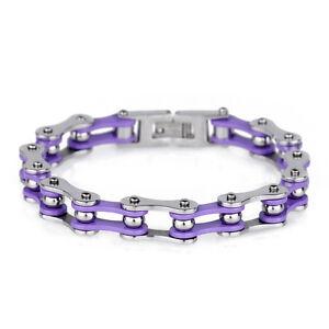 Purple Stainless steel Women Motorcycle Biker chain bracelet For Wife Gift 8.7''
