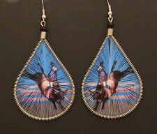 Earrings Bullrider Hand Threaded Western Large Teardrop Shape Dangles Blue/Brown