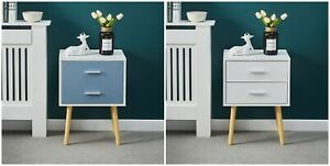 Bedside Lamp Table Cabinet Nightstand 2 Drawer Bedroom Living Room Storage Unit