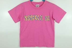 Vintage Norfolk, Virginia Youth S Pink Single Stitch Graphic T Shirt USA Made