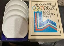 1980 Lake Placid Winter Olympics Roni Raccoon Porcelain Coaster Set of 4