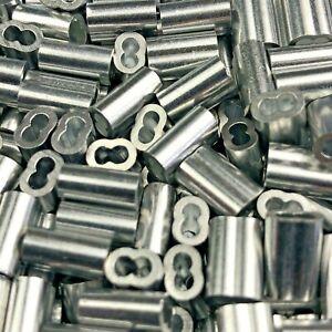 Aluminum Double Barrel Ferrule Crimping Loop Sleeve 2mm. Pack of 250.