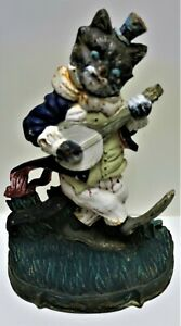 Vintage Painted Cast Iron DOOR STOPPER - Cat Playing Banjo