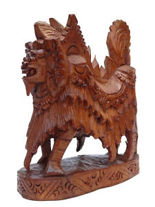Wood Carved Bali Barong Dance Statue Balinese Lion Carving Figurine Indonesia
