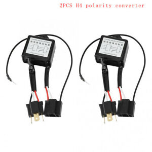 2PCS LED H4 Polarity Converter Negative Switch Harness Adaptor Reverse Polarity