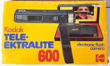 Vintage 1980 KODAK TELE-EKTRALITE 600 Electronic Flash CAMERA & 110 Film in BOX