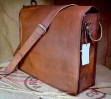 Vintage Ziegen Leder Messenger Echt Satchel Original Laptoptasche Braun Aktenkoffer