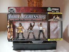 wwe micro aggression series 10 cmpunk, burke,domino wrestling figur moc ovp