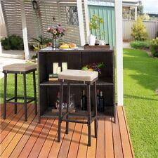 Rattan Patio Bar Outdoor Wicker Conversation Set Garden Patio Furniture, 3 pcs