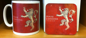 Game of Thrones House Lannister Mug and Coaster Gift Set Hear Me Roar