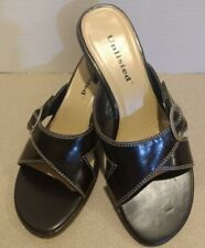 Unlisted Brown Faux Leather Slide Sandal Heel w/Adjustable Buckle Women's Size 6
