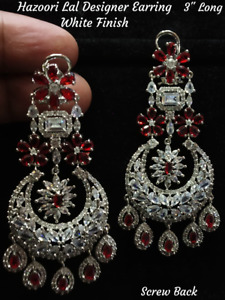Bollywood Indian Silver Plated CZ Long Earrings Wedding AD Stone Bridal Red Set
