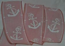 Wired Ribbon~Pink Anchor~White~Beach~Wedding~Ocean~Nautical~Boat~Wreath~Gift~Bow