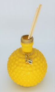 """Yellow - Recycled Vase or Oil Defuser with Mosaic Beads & Wire Pendant  4"""" x 5"""""""