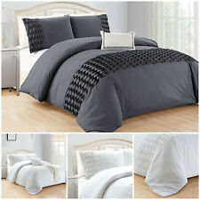 Grey Duvet Cover Quilt Single Double King Size Bedding Set With Pillowcase
